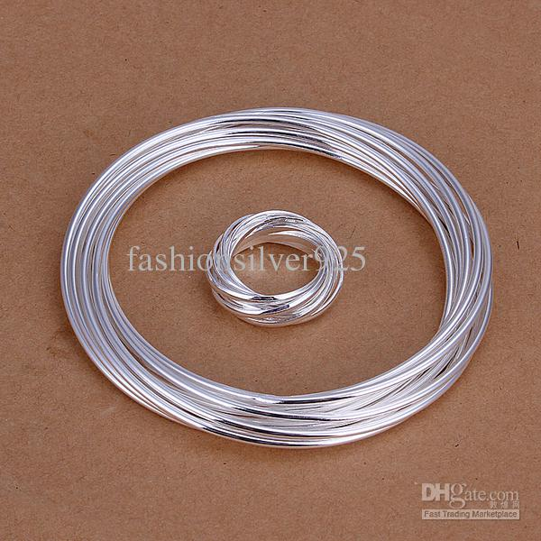 Groothandel - - Detail gratis verzending laagste prijs kerstcadeau 925 zilveren ketting + armband set TS162