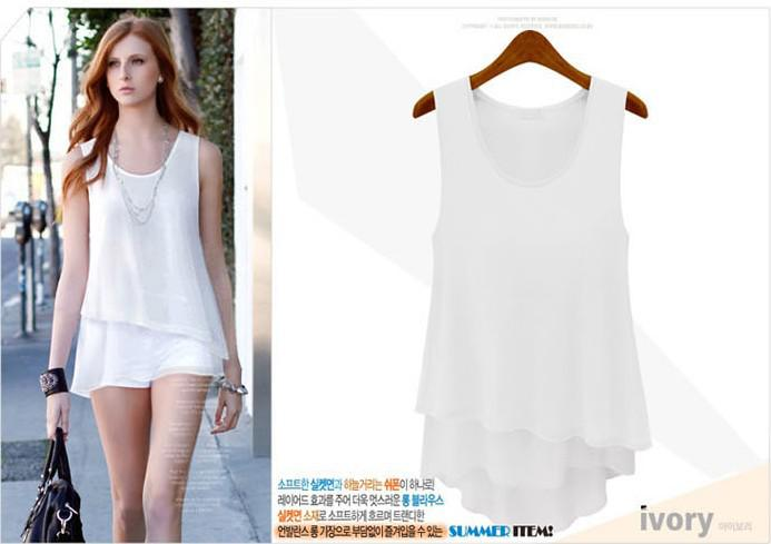 New Women Three-Color Sleeveless Pure Chiffon Shirt Women's Leisure