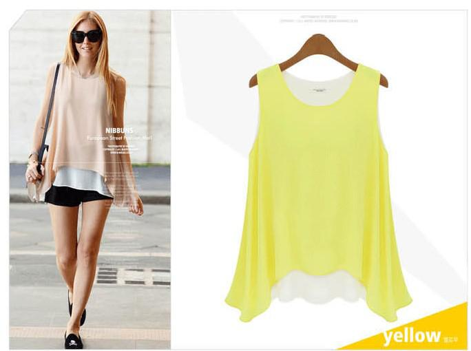 Women Summer New Chiffon Shirt Sleeveless Slim Double Sling Bottoming Shirt