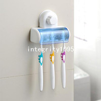 Wholesale Spinbrush Suction Holder - Free Shipping High Quality Home Bathroom Toothbrush SpinBrush Suction Holder Stand Rack Plastic Set 5 Bin Hot sale BH-03