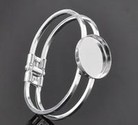ébauche de lunette en forme de bracelets achat en gros de-Livraison gratuite, argent 25mm Tour de Bracelet Bracelet Base Vierge Plateau Cadre Cabochon