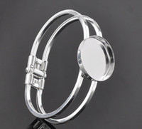 Wholesale Silver Bezel Blanks - Free shipping, sterling silver 25mmRound Bangle Bracelet Blank Base Tray Bezel Cabochon Setting