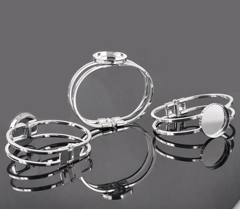 silver 25mmRound Bangle Bracelet Blank Base Tray Bezel Cabochon Setting