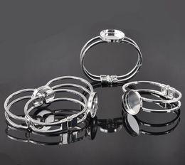 Wholesale Silver Plated Bezel Bracelet Blanks - Wholesale-Free shipping, Silver Plated 25mmRound Bangle Bracelet Blank Base Tray Bezel Cabochon Setting