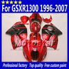 7 Gifts abs fairings for SUZUKI GSX1300R hayabusa 1996 - 2007 GSX 1300R 96-07 GSX-1300R black in glossy red fairing bdoy set Sf27