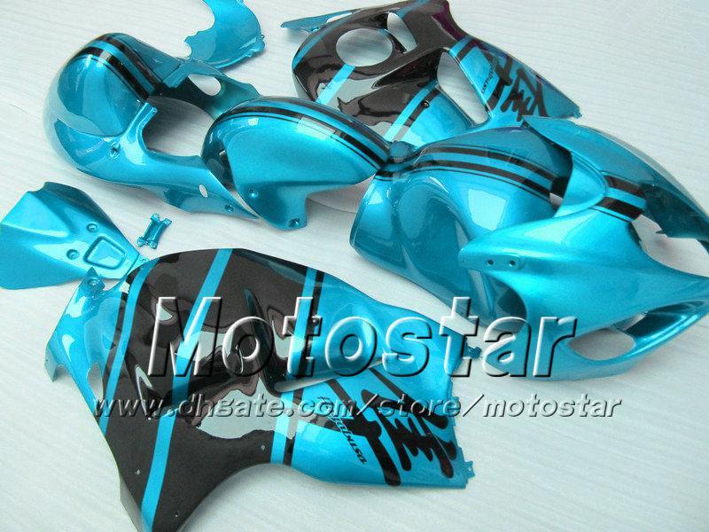 7 geschenken ABS-bubbelboeken voor Suzuki GSX1300R Hayabusa 1996 - 2007 GSX 1300R 96-07 GSX-1300R Zwart in glanzend waterblauw Fairing Body Set SF30