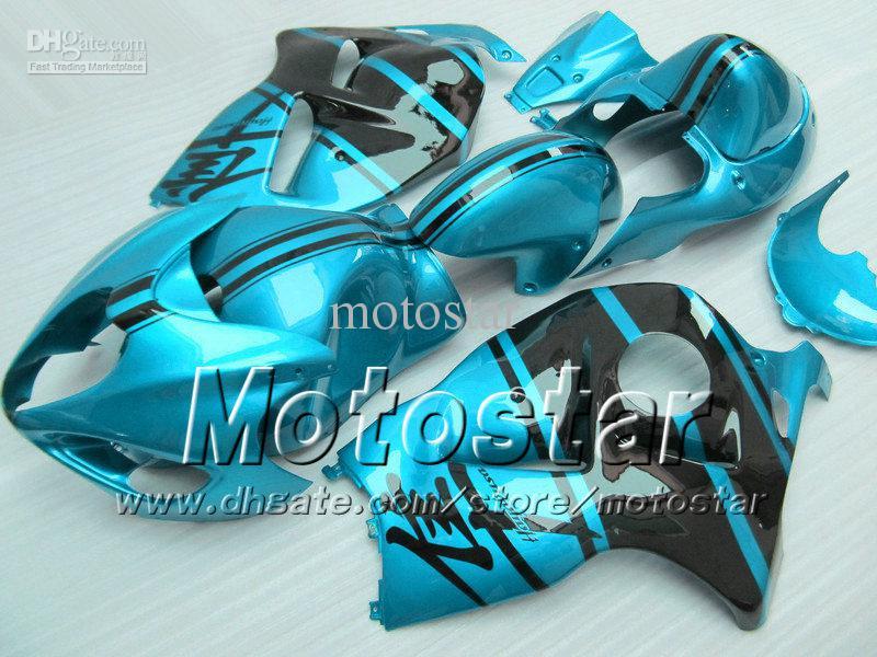 7 Gifts abs fairings for SUZUKI GSX1300R hayabusa 1996 - 2007 GSX 1300R 96-07 GSX-1300R black in glossy water blue fairing body set Sf30