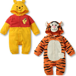 Wholesale Garment Infant - new baby autumn and winter lovely pooh tiger design long sleeves rompers boys girls Jumpsuits Infant popular garment