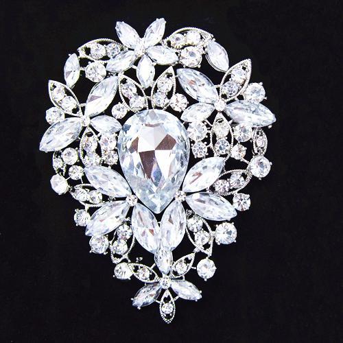 3.6 pulgadas de plata grande plateado enorme lágrima Rhinestone cristalino de la boda de lujo broche B638 elegante flor grande boda nupcial joyería Pin
