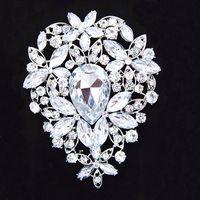 gelin kristali yapay elmas broşları toptan satış-3.6 Inç Büyük Gümüş Kaplama Büyük Gözyaşı Rhinestone Kristal Lüks Düğün Buket Broş B638 Zarif Büyük Çiçek Düğün Gelin Takı Pin