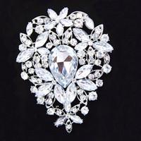 ingrosso eleganti bouquet di spilla-3.6 pollici grande argento placcato enorme teardrop strass di cristallo di lusso bouquet da sposa spilla B638 elegante grande fiore da sposa gioielli da sposa pin