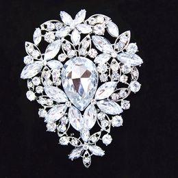 $enCountryForm.capitalKeyWord NZ - 3.6 Inch Big Silver Plated Huge Teardrop Rhinestone Crystal Luxury Wedding Bouquet Brooch B638 Elegant Big Flower Wedding Bridal Jewelry Pin