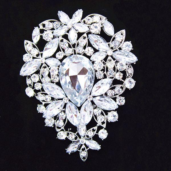 3,6 Zoll Große Silber Überzogene Riesige Teardrop Strass Kristall Luxus Hochzeitsstrauß Brosche B638 Elegante Große Blume Hochzeit Brautschmuck Pin