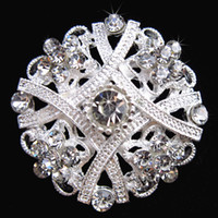 Wholesale Crystal Clear Wedding Brooch - Exquisite Flower Silver Brooch Clear Crystal Diamante Rhinestone Flower Pin Brooch Wedding Bridal Bouquet Brooch Lady Corsage Breastpin B635