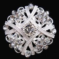 Wholesale Diamante Crystal Brooch - Exquisite Flower Silver Brooch Clear Crystal Diamante Rhinestone Flower Pin Brooch Wedding Bridal Bouquet Brooch Lady Corsage Breastpin B635