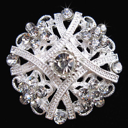 Wholesale Corsage Pins Wholesale - Exquisite Flower Silver Brooch Clear Crystal Diamante Rhinestone Flower Pin Brooch Wedding Bridal Bouquet Brooch Lady Corsage Breastpin B635