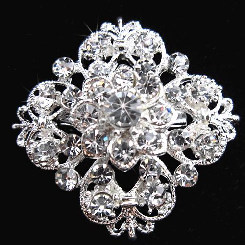 Tono plateado Rhinestone claro Broche de cristal Broche de flores Flor para niña Broche de novia Ramo de novia Broches B634