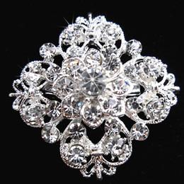 Wholesale Flowers Clear Crystals - Silver Tone Clear Rhinestone Crystal Brooch Flower Girls' Corsage Fashion Brooch Wedding Bridal Bouquet Pins Brooches B634