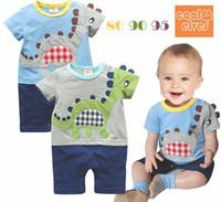 Wholesale Bodysuits Cartoon - Summer cartoon dinosaur baby rompers infant one-pieces kids cotton bodysuits short sleeve romper