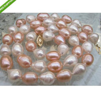 Wholesale Pearl Necklace 14kg - AAA++ natural akoya white pink bizarre pearl necklace 18 inch 14KG