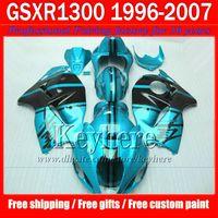 Wholesale Black Hayabusa Fairing Kit - Hot sale black water blue fairing kit for SUZUKI Hayabusa GSX-1300R 96 -06 07 GSX1300R race motorcycle fairings 1996-2007 with 7 gifts jk22