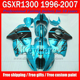 Wholesale Abs Hayabusa Fairings Kit Blue - Hot sale black water blue fairing kit for SUZUKI Hayabusa GSX-1300R 96 -06 07 GSX1300R race motorcycle fairings 1996-2007 with 7 gifts jk22