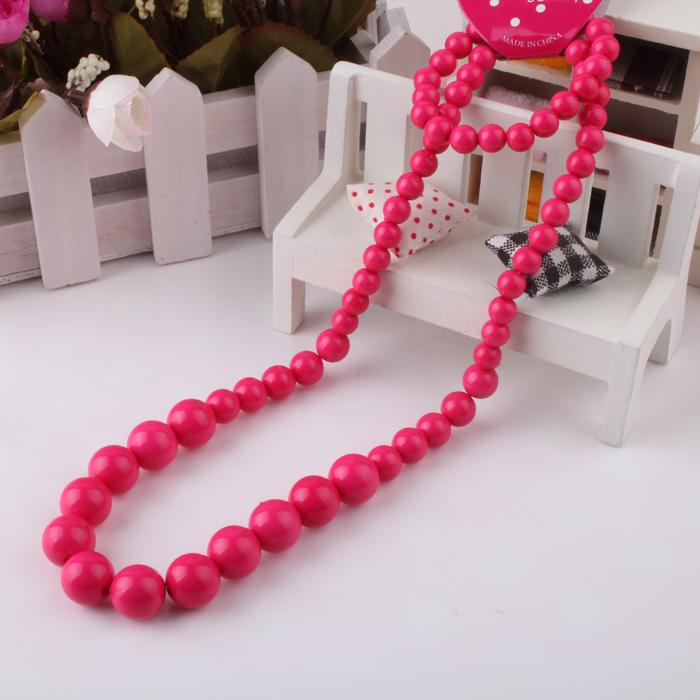 Children Jewelry Kids Necklace 6Colors Resin Bead Girls Necklace Fashion 100% Candy Round Fluorescence Necklace And Bracelet 12Sets/LOT KT00