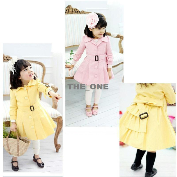 best selling 2014 new children clothing girls coat children autumn fashion single breasted trench coat girls coat princess dress free shipping in stock