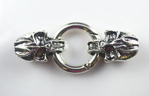Wholesale Antique Silver Skull Leather Cord Bracelet End Cap With Spring Clasp Hole Size8mm