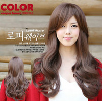 Wholesale Korean Girl Brown Hair - Korean fashion Non-mainstream cute sweet girls long curl wave full wigs dating costume hair black & brown t5594
