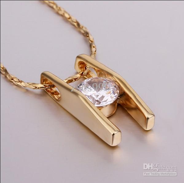 I monili nuziali placcati oro 18K di modo hanno intarsiato il trasporto libero / del regalo di cerimonia nuziale della collana del pendente di zircon