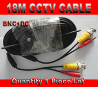 Wholesale Dc Cable Connectors - 18M 20m CCTV Cable 60 feet with BNC Video Plug & DC Power Connector for CCTV Security Cameras System Free Shipping