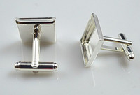 Freeshipping, high quality sterling silver cufflink base, cu...