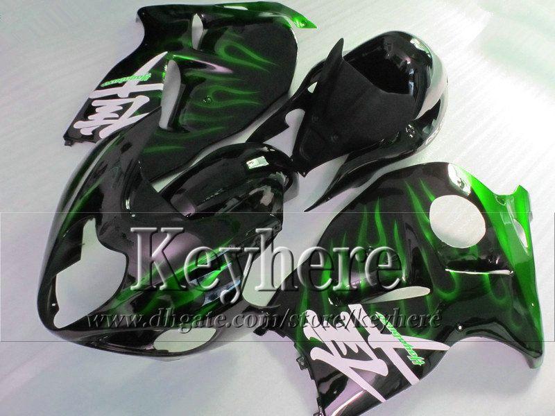 Motorfietsballen voor GSX-1300R 1996 1997- 2007 Suzuki GSX1300R Hayabusa 96-07 Groene vlam in zwarte lichaamswerk Keuken met 7 geschenken JK32