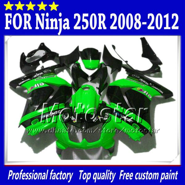 Fairings set for Ninja 250R 2008 2009 2010 2011 2012 EX250 08 09 10 11 12 glossy green with black body fairing Sf92