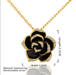 Free Shipping Valentines Gifts NZ - Fashion 18K gold plated jewelry rose crystal necklace pendant valentine gift for women free shipping 10pcs lot