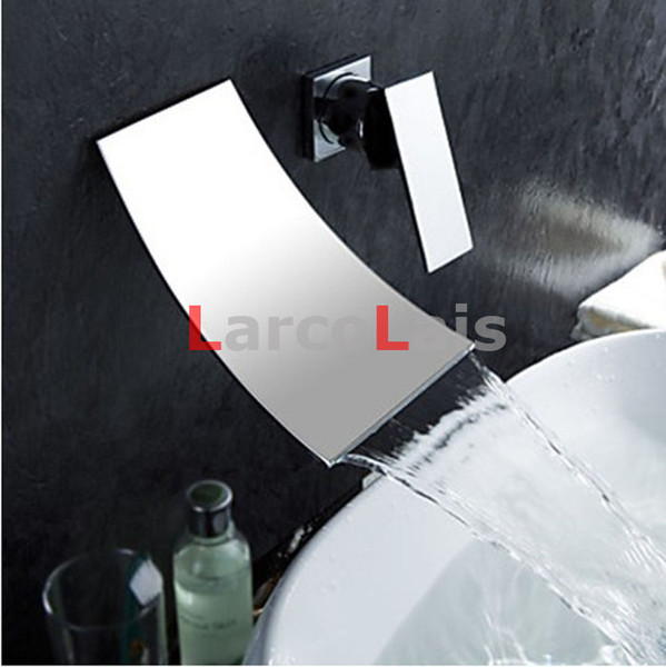 top popular Waterfall Wall Mounted Faucet Dual 2 Holes Widespread Contemporary Bathroom Sink Sanitary Mixer Tap Torneira (Chrome Finish) 2019