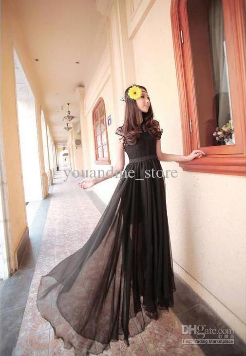2016 лето Макси длинное платье мода сексуальные дамы макси платье женщин шифоновое платье вечернее платье пляж платье длиной до пола белый черное платье