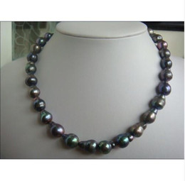 Wholesale Pearl Necklace 17mm - huge rare14-17mm natural tahitian peacock green pearl necklace 18inch 14KG