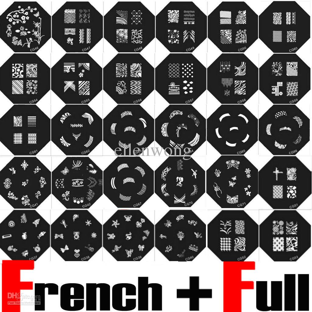 Nail Art Stamp Stamping Image Plate French &Amp; Full Nail Design ...
