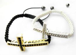 Wholesale Sideways Cross Bracelet Rhinestone - 12pcs lot The lowest price crystal rhinestone sideways cross shamballa bracelet