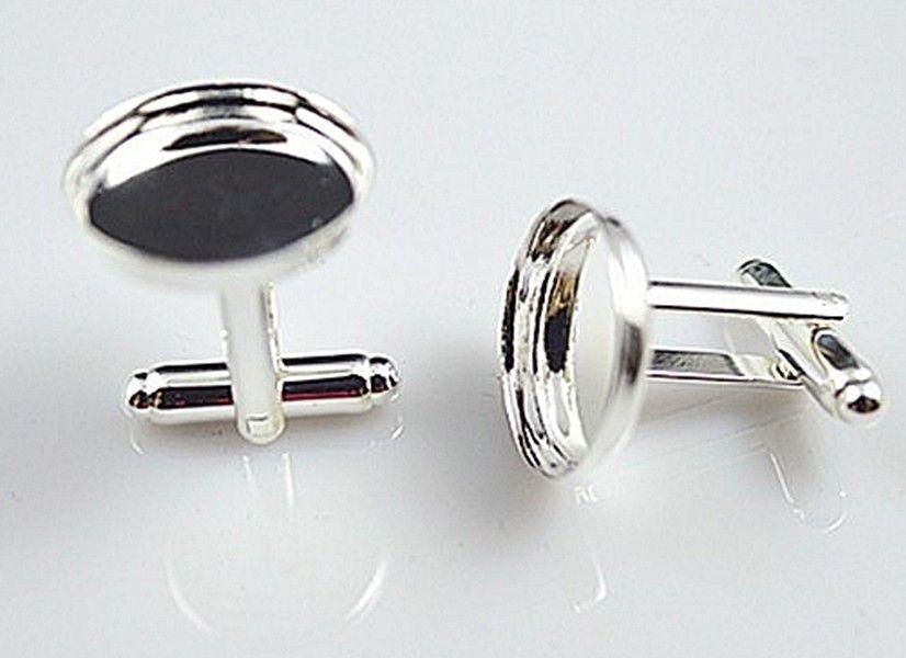Hoge kwaliteit Sterling zilveren manchetknoopbasis, manchetknopen blanco, manchetknoop size16mm