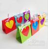 European Stylish Paper Candy Box with Rainbow Heart Bow for Wedding Birthday Party 7 Colors 2 Sizes