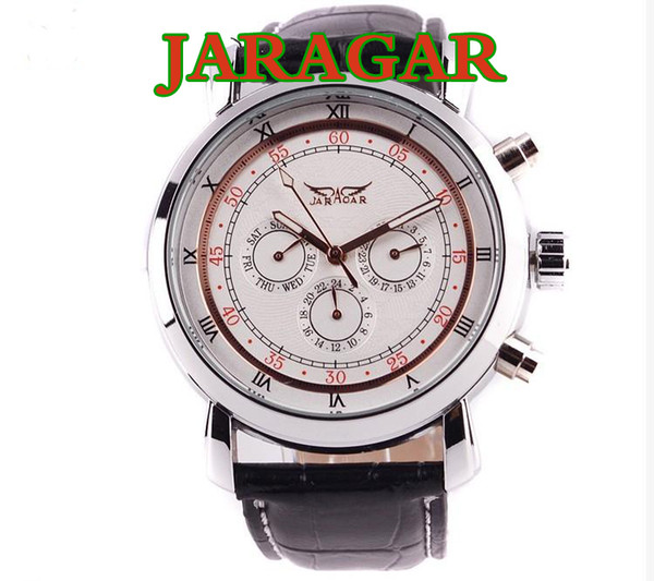 Best price for All jaragar brand luxury automatic mechanical 6 Hands men watch 30pcs/lot DHL free shipping