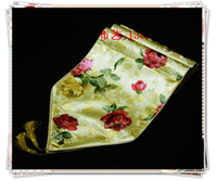 Wholesale Table Runner European Size - European Style Yellow Satin Fabric Table Runners Table flag Coffee Table Cloths Designs Printed Bed Runner size L200 x W35cm 1pcs Free