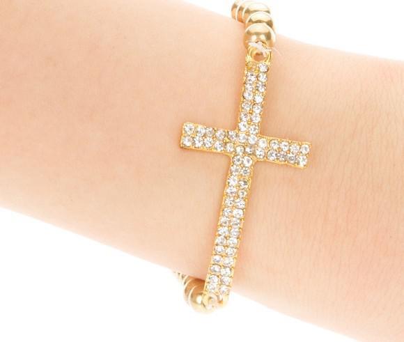 امتدت الحب الإيمان الصليب سحر سوار الخرز 6MM حبلا سوار الفضة مزيج اللون الذهبي