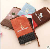 Wholesale Korean Set Phone - Korean Vintage Cotton time phone package wallet phone bag phone sets Korea