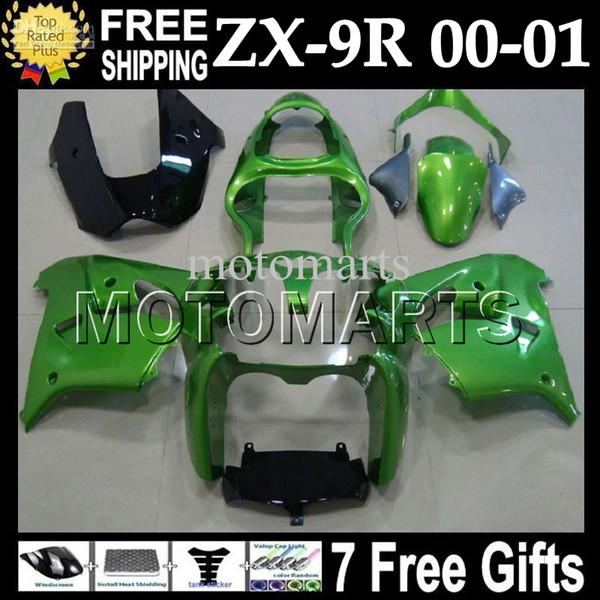 7gifts Para KAWASAKI NINJA ZX9R 00-01 Verde claro 00 01 ZX-9R 9 R ZX 9R MT # 1727 Verde brillante 2000 2001 Kit de carenado + Personalizado gratis