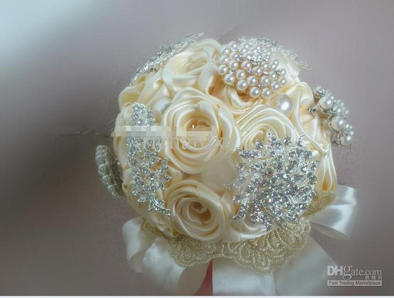 Art Handmade Pearl Ribbon Ivory Brooch Bouquet Shining Brooch ...