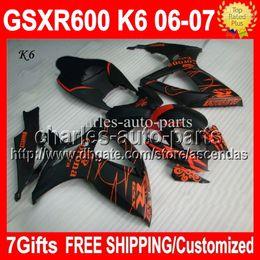 Wholesale Suzuki Gsxr Fairing Orange K6 - 7gifts+Cowl Free Customized NEW CORONA Of SUZUKI GSXR600 06 07 GSX-R600 K6 Orange black C#361 GSXR 600 GSXR-600 2006 2007 Full Fairing Kit